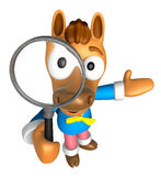 3D Horse mascot look through a magnifying glass. 3D Animal Chara Royalty Free Stock Photos