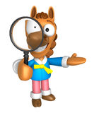 3D Horse mascot look through a magnifying glass. 3D Animal Chara Stock Images