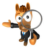 3D Horse mascot look through a magnifying glass. 3D Animal Chara Royalty Free Stock Photo