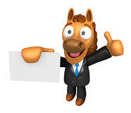 3D Horse Mascot the right hand best gesture and left hand is hol Royalty Free Stock Photo
