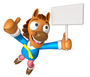 3D Horse Mascot the right hand best gesture and left hand is hol Royalty Free Stock Photos