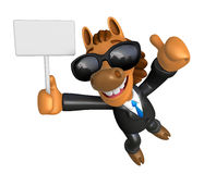 3D Horse Mascot the right hand best gesture and left hand is hol Stock Image
