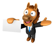 3D Horse mascot the right hand guides and the left hand is holdi Royalty Free Stock Photos