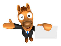 3D Horse mascot the right hand guides and the left hand is holdi Stock Images