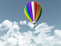 3D hot air balloon in the sky. 3D render of hot air balloon in a blue cloudy sky Stock Photography