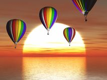 3D hot air balloons floating about a sunset ocean. 3D render of hot air balloons floating about a sunset ocean Stock Photography