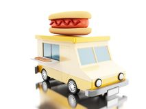 3d Hot dog food truck. 3d illustration. Hot dog food truck. Fast food concept.  white background Stock Images