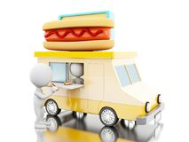 3d Hot dog food truck with white people. 3d illustration. Hot dog food truck with white people  Fast food concept. Isolated white background Royalty Free Stock Images