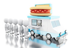 3d Hot dog food truck with white people waiting in line. 3d illustration. Hot dog food truck with white people waiting in line. Fast food concept.  white Stock Image
