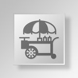 3D hot dog stand Button Icon Concept. 3D Symbol Gray Square hot dog stand Button Icon Concept Stock Photography