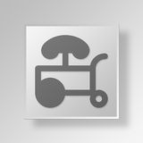 3D hot dog stand Button Icon Concept. 3D Symbol Gray Square hot dog stand Button Icon Concept Stock Photo