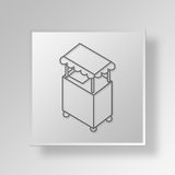 3D hot dog stand Button Icon Concept. 3D Symbol Gray Square hot dog stand Button Icon Concept Stock Photos
