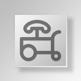 3D hot dog stand Button Icon Concept. 3D Symbol Gray Square hot dog stand Button Icon Concept Royalty Free Stock Photo