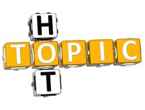 3D Hot Topic Crossword. Over white background Stock Images