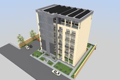 3D hotel render. 3D house drawing line, exterior design,  3D home, rendering residential, building, caffe, mini park Stock Photography