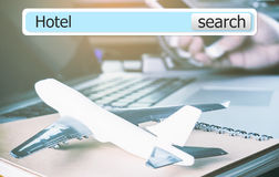 3D Hotel search bar for travel. 3D Hotel search bar for business travel royalty free stock photos