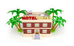3d hotel in the tropics Royalty Free Stock Photo
