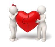 3d houdend van paar die een rood raadselhart houden - Valentijnskaarten Stock Fotografie