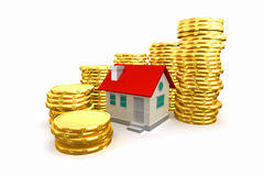 3d house around with coin stack. Royalty Free Stock Photo