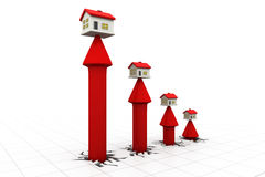 3d house and arrow graph Royalty Free Stock Images