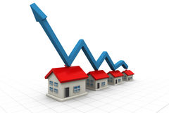 3d house and arrow graph. Growth in real estate Stock Photos