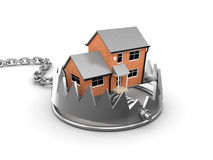 3d House in a bear trap. 3d render of a house in a bear trap Royalty Free Stock Photos