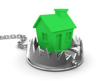 3d House in a bear trap. 3d render of a green house in a bear trap Royalty Free Stock Photography
