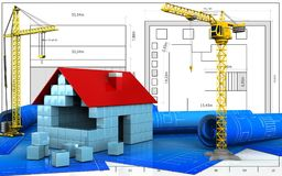 3d of house blocks construction. 3d illustration of house blocks construction with crane over blueprint background Royalty Free Stock Image
