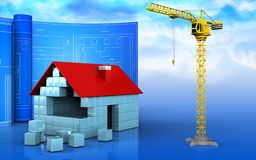 3d of house blocks construction. 3d illustration of house blocks construction with drawing roll over sky background Stock Image