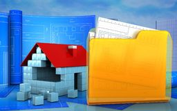 3d of house blocks construction. 3d illustration of house blocks construction with drawing roll over skyscrappers background Stock Photo