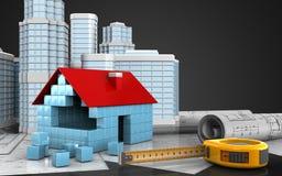 3d of house blocks construction. 3d illustration of house blocks construction with urban scene over black background Royalty Free Stock Image