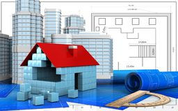 3d of house blocks construction Stock Photography
