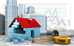 3d of house blocks construction. 3d illustration of house blocks construction with urban scene over business graph background Royalty Free Stock Photos