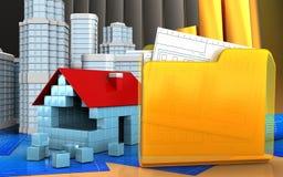 3d of house blocks construction. 3d illustration of house blocks construction with urban scene over golden charts background Stock Photo