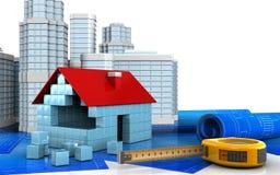 3d of house blocks construction. 3d illustration of house blocks construction with urban scene over white background Stock Image