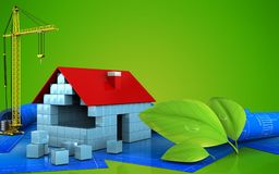 3d of house blocks construction. 3d illustration of house blocks construction with crane over green background Royalty Free Stock Photos