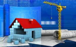 3d of house blocks construction. 3d illustration of house blocks construction with drawing roll over digital background Stock Image