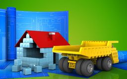 3d of house blocks construction. 3d illustration of house blocks construction with drawing roll over green background Stock Images