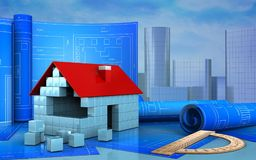 3d of house blocks construction. 3d illustration of house blocks construction with drawing roll over skyscrappers background Stock Images