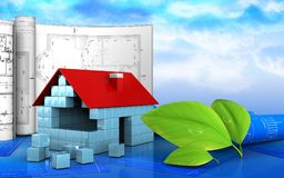 3d of house blocks construction. 3d illustration of house blocks construction with drawings over sky background Stock Photography