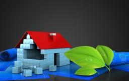 3d of house blocks construction. 3d illustration of house blocks construction over black background Royalty Free Stock Photos