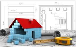 3d of house blocks construction. 3d illustration of house blocks construction over blueprint background Stock Photos