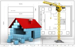 3d of house blocks construction. 3d illustration of house blocks construction over blueprint background Royalty Free Stock Photos