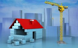 3d of house blocks construction. 3d illustration of house blocks construction over skyscrappers background Royalty Free Stock Image