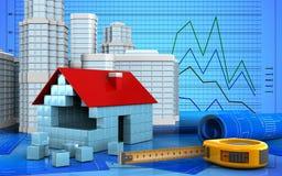 3d of house blocks construction. 3d illustration of house blocks construction with urban scene over graph background Stock Photos