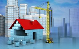 3d of house blocks construction. 3d illustration of house blocks construction with urban scene over skyscrappers background Stock Photography