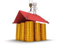 3D house build with gold coins Stock Images
