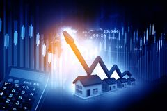 3d house with business graph chart. Real estate growth cart Stock Images
