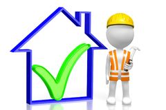 3D house construction concept. 3D cartoon character holding a hammer, house shape with a check-mark sign - great for topics like construction site, repair Stock Photo