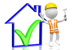 3D house construction concept. 3D cartoon character holding a hammer, house shape with a check-mark sign - great for topics like construction site, repair Royalty Free Stock Image